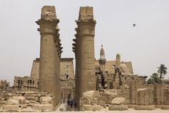 Buildings and columns of ancient Egyptian megaliths. Ancient ruins of Egyptian buildings. Stock Image