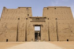 Buildings and columns of ancient Egyptian megaliths. Ancient ruins of Egyptian buildings. Giza Museum Complex, Egypt - 27 August 2017: Buildings and columns of Stock Image