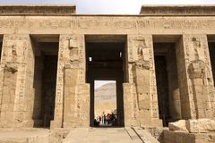 Buildings and columns of ancient Egyptian megaliths. Ancient ruins of Egyptian buildings. Giza Museum Complex, Egypt - 27 August 2017: Buildings and columns of Stock Photos