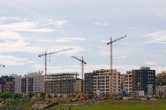 Buildings construction. Residential buildings under construction, Santander, Cantabria, Spain Royalty Free Stock Image