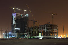 Buildings construction at night Royalty Free Stock Image