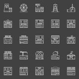 Buildings and constructions icons Stock Photos