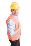 Buildings contractor posing on white background Stock Image