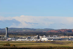 Buildings and control tower, Edinburgh airport Stock Images