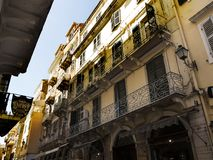Buildings in Corfu town on the Greek Island of Corfu. The city of Corfu stands on the broad part of a peninsula, whose termination in the Venetian citadel is cut Royalty Free Stock Photo