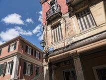 Buildings in Corfu town on the Island of Corfu. The city of Corfu stands on the broad part of a peninsula, whose termination in the Venetian citadel is cut off Royalty Free Stock Photos