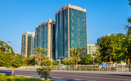 Buildings on Corniche Road in Abu Dhabi Royalty Free Stock Images