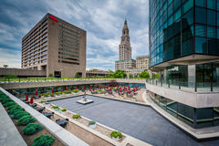 Buildings and courtyard in downtown Hartford, Connecticut. Royalty Free Stock Photography