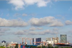 Buildings and crane construction site Royalty Free Stock Photography