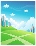 Buildings and cross path. Over the Green mountain Stock Images