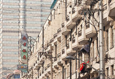 Buildings in a dense downtown area, Shanghai, China Royalty Free Stock Photo