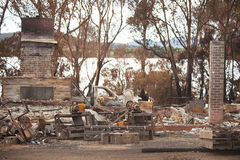 Buildings destroyed by bushfire Stock Images