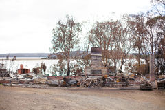 Buildings destroyed by bushfire Royalty Free Stock Images