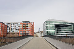 Buildings divided by road. Residential area next to Business area in Frankfurt, Germany Royalty Free Stock Photo