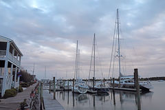 Buildings, docks and boats at sunset in Beaufort, North Carolina Royalty Free Stock Images