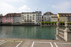 Buildings down by the river Reuss Stock Photos
