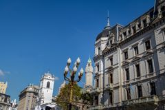 Buildings in downtown Buenos Aires near Plaza de Mayo - Buenos Aires, Argentina. Buildings in downtown Buenos Aires near Plaza de Mayo in Buenos Aires, Argentina stock photo