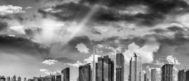 Buildings of Downtown Dubai in black and white, UAE Royalty Free Stock Image
