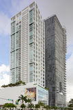 Buildings at Downtown Miami. MIAMI - JULY 15: Stock image of Ten Museum Park and the Marquis highrise condos at Downtown Miami offer luxury residential Royalty Free Stock Photography