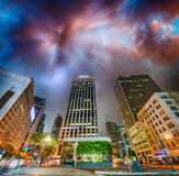 Buildings of Downtown San Francisco at night.  Royalty Free Stock Images