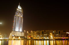 Buildings in Dubai Downtown and man-made lake Stock Image