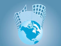 Buildings and the earth. Vector illustration of buildings and the planet Stock Photo