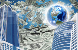 Buildings and Earth. Dollars falling from the sky Royalty Free Stock Image