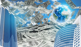 Buildings and Earth. Dollars falling from the sky Stock Photo