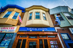 Buildings on Eastern Avenue, in Greektown, Baltimore, Maryland. Royalty Free Stock Photos