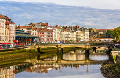 Buildings at the embankment of Bayonne Royalty Free Stock Photo