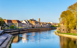 Buildings on the embankment in Besancon Royalty Free Stock Photos