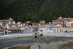 Buildings in the embankment of Mzymta river, with the cabins bel Stock Photography