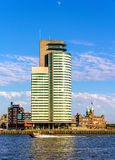 Buildings on the embankment of Rotterdam Royalty Free Stock Photo