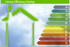 Buildings energy efficiency concept image. Concept image with home and energy classes according to the new European law royalty free stock image