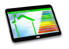 Buildings energy efficiency concept image. 3D render of a digital tablet with home and energy classes according to the new Europe stock image