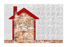 Buildings energy efficiency concept image - 3D render home thermally insulated with polystyrene walls - concept in jigsaw puzzle. Shape stock images