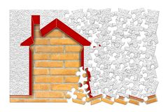 Buildings energy efficiency concept image - 3D render home thermally insulated with polystyrene walls - concept in jigsaw puzzle. Shape royalty free stock photo