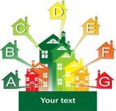 Buildings energy performance. Logo-the energy efficiency of buildings stock illustration
