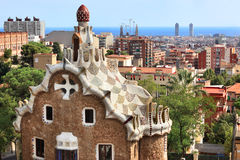 Buildings at the entrance of the Parc Guell. Royalty Free Stock Images