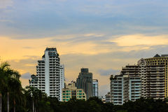 Buildings at evening. And sky background Stock Image