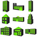 Buildings Exterior Icon Set in 3d Black. A set of building exteriors with different architectures in black vector illustration