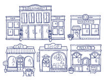 Buildings facade front view. Shop, cafe, mall and pharmacy. Doodle illustrations set. Facade of pharmacy and store building architecture vector illustration