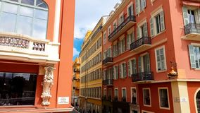 Buildings facade Massena place, european architecture, historic square of Nice. Stock photo royalty free stock images
