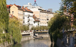 Buildings facing the river in Ljubljana Royalty Free Stock Photography