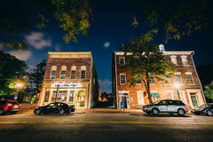 Buildings on Fairfax Street at night, in the Old Town of Alexand Royalty Free Stock Image