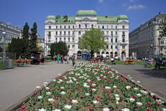 Buildings of a famous Wiener Ringstrasse in VIENNA, AUSTRIA. VIENNA, AUSTRIA - APRIL 25, 2013: Buildings of a famous Wiener Ringstrasse Royalty Free Stock Images