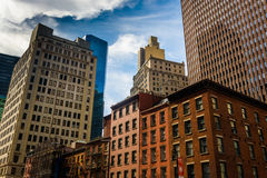 Buildings in the Financial District of Manhattan, New York. Royalty Free Stock Photography