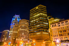 Buildings in the Financial District at night, in Boston, Massach Stock Photography