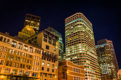 Buildings in the Financial District at night, in Boston, Massach Stock Photos