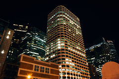 Buildings in the Financial District at night, in Boston, Massach Royalty Free Stock Images